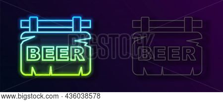 Glowing Neon Line Street Signboard With Inscription Beer Icon Isolated On Black Background. Suitable
