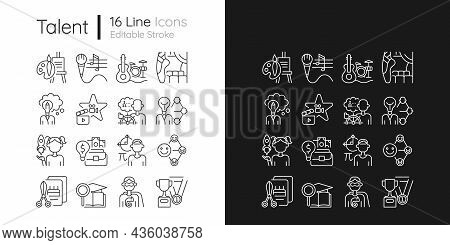 Talents And Aptitudes Linear Icons Set For Dark And Light Mode. Vocation. Thin Line Contour Symbols