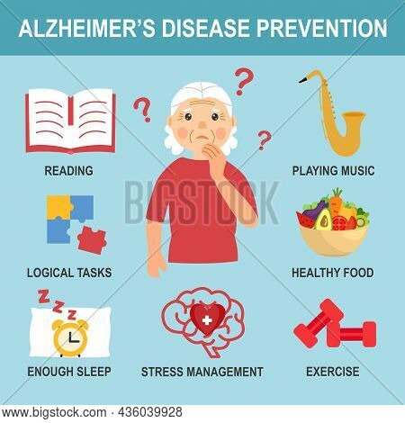 Alzheimer's Disease Prevention Infographic With Useful Advices In Flat Design.