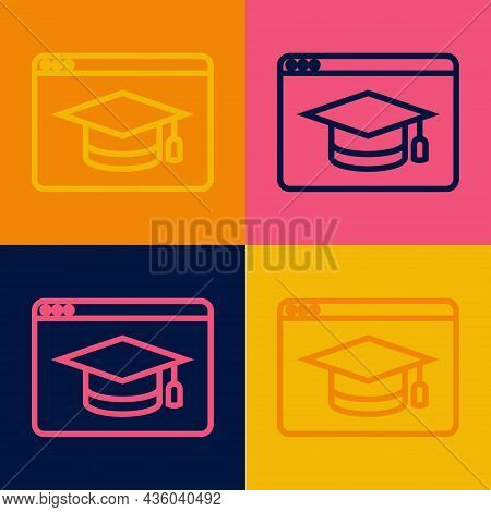 Pop Art Line Online Education And Graduation Icon Isolated On Color Background. Online Teacher On Mo