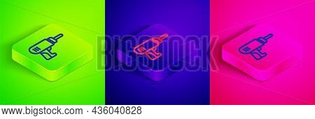 Isometric Line Electric Drill Machine Icon Isolated On Green, Blue And Pink Background. Repair Tool.