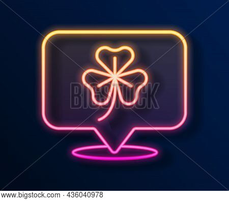 Glowing Neon Line Clover Trefoil Leaf Icon Isolated On Black Background. Happy Saint Patricks Day. N