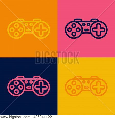Pop Art Line Gamepad Icon Isolated On Color Background. Game Controller. Vector