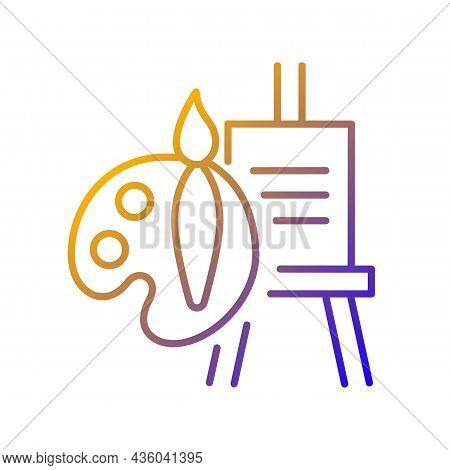 Painting Talent Gradient Linear Vector Icon. Ability To Draw Beautiful Pictures. Tools For Artist. P