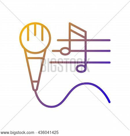 Talent For Singing Gradient Linear Vector Icon. Vocal Lessons And Training. Performing Song And Musi