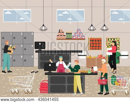 Supermarket Entrance With Cashier Desk. People Buying Groceries, Paying For Purchases, Vector Illust
