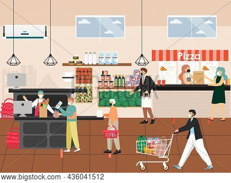 Coronavirus Pandemic. Grocery Store. People In Face Masks Shopping For Food, Keeping Distance, Vecto