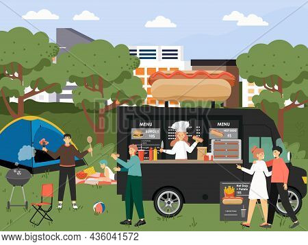 Happy People Taking Rest In City Park, Vector Illustration. Outdoor Picnic, Bbq Party, Summer Camp,