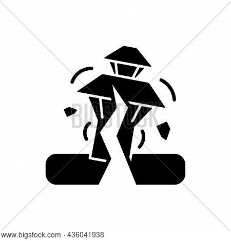 Earthquake In Nepal Black Glyph Icon. Seismically Active Region. Damaged Towns, Structures Risk. Mos