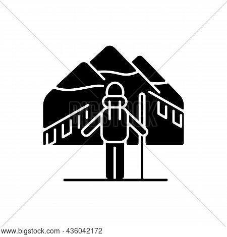 Trekking In Nepal Black Glyph Icon. Mountaineering Destination. Hiking Through Himalayas. Climbing S