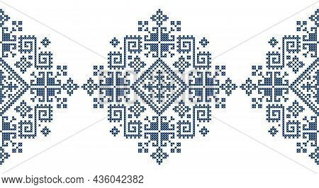 Retro Zmijanje Retro Embroidery Style Vector Seamless Geometric Long Pattern - Traditional Folk Art
