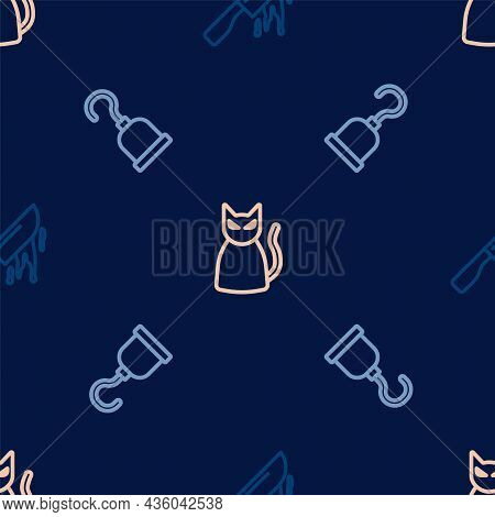 Set Line Bloody Knife, Pirate Hook And Black Cat On Seamless Pattern. Vector