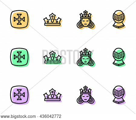 Set Line Princess Or Queen, Crusade, King Crown And Medieval Helmet Icon. Vector