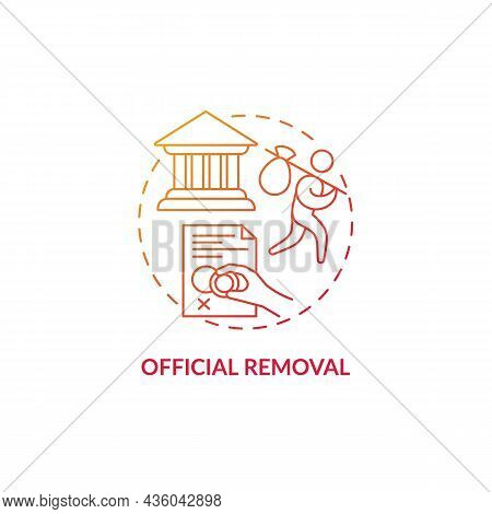 Official Removal Red Concept Icon. Visa Denied. Refusal For Border Entry. Immigrant Leaves Country.