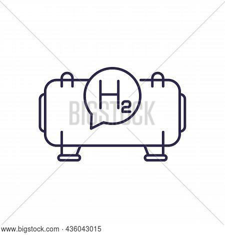 Hydrogen Storage, Gas Tank Line Icon On White
