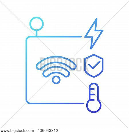 Iot Sensors Gradient Linear Vector Icon. Information Transmission Over Wireless Network. Smart Secur