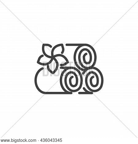 Towels And Lotus Flower Line Icon. Linear Style Sign For Mobile Concept And Web Design. Spa Salon To