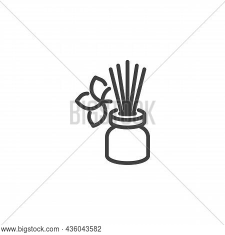 Aromatherapy Sticks Line Icon. Linear Style Sign For Mobile Concept And Web Design. Reed Diffuser Ou