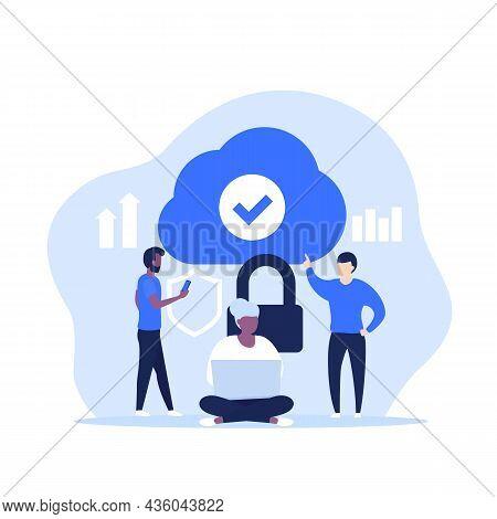 Secure Cloud Access, Hosting Or Saas Vector