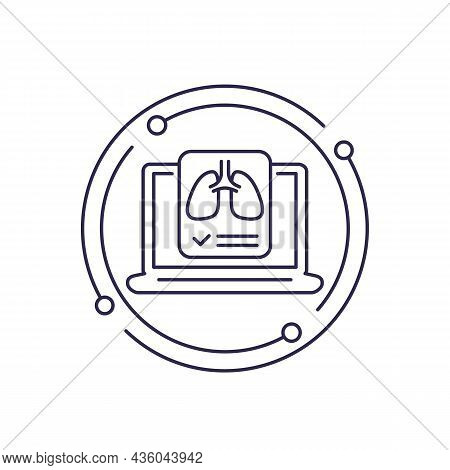 Lungs, Medical Test Line Icon On White