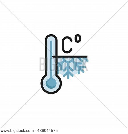Frosty Weather Temperature Filled Outline Icon, Winter Meteorology Thermometer Line Vector Sign, Lin