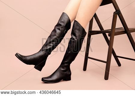 Black Leather High Long Boots Jackboots Without Heels, With Flat Sole, Sexy Caucasian Female Legs An