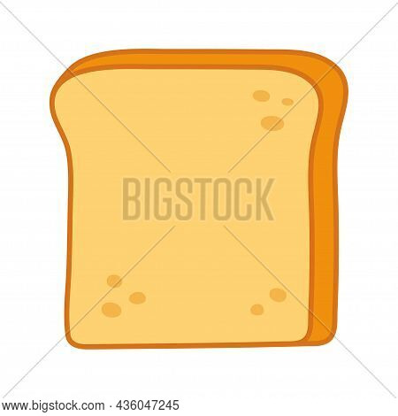 Delicious Toast Bread Icon. White Toast Bread Slice For Sandwich Isolated On White Background. Vecto