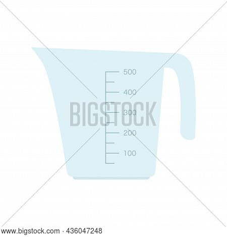 Glass Or Plastic Empty Measuring Cup For Prepare And Mixing. Kitchen Measuring Beaker Isolated On A