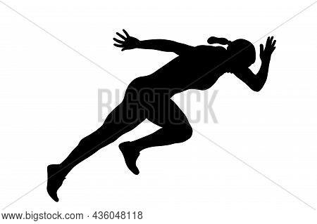 Start Running Sprint Female Athlete Black Silhouette