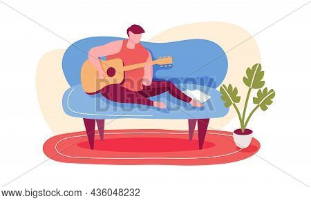 Learning Play Guitar At Home, Beginner Musician. Vector Music Education Play At Guitar Instrument, I