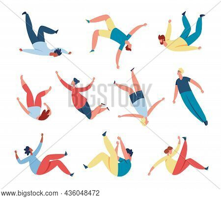 People Floating, Soaring In Air Or Sky, Person Flying In Space. Men And Women Characters Sleep And F