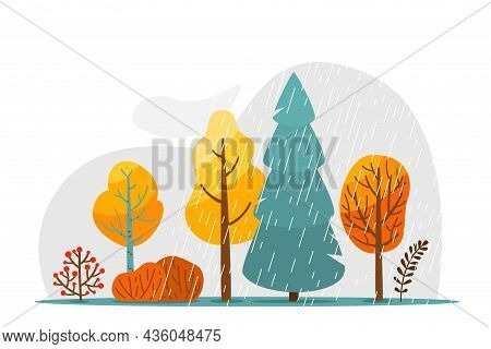 Autumn Rainy Landscape With Rain Texture, Cloud, Tree, Bush And Branch Vector Illustration. Abstract