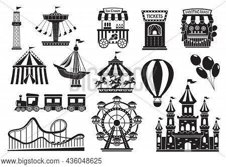 Amusement Park Silhouette Elements, Carnival Fairground Attractions. Kids Carousel, Roller Coaster,
