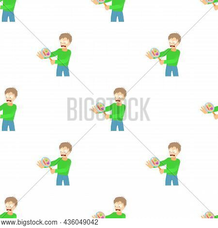 Misophobia Concept. Cartoon Illustration Of A Man Suffering From The Fear Of Of Germs