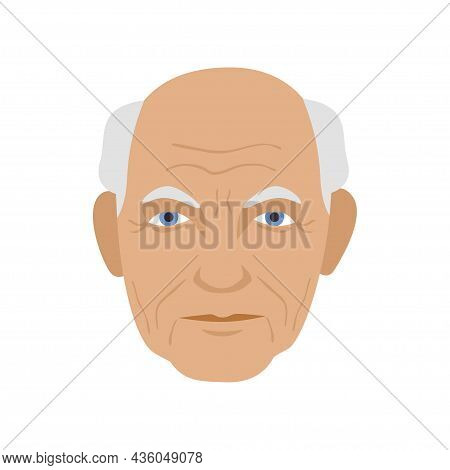 Elrderly Grandpa Gray Bald Head Senior Face Avatar Icon Simple Flat Style Vector Illustration