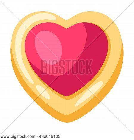 Illustration Of Heart Cookie. Food Item For Bars, Restaurants And Shops.