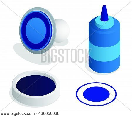 Isometric Round Notary Seal For Stamp. Postal Printing, Marking Of Letters And Postal Items. Realist