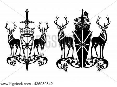 Pair Of Standing Deer Stags With Heraldic Shield, King Crown, Knight Sword And Rose Flowers - Mediev