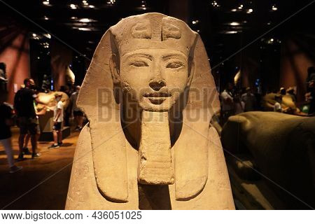 Turin, Italy - August 19, 2021: Frontal View Of Egyptian Sphinx Statue At The Egyptian Museum Of Tur