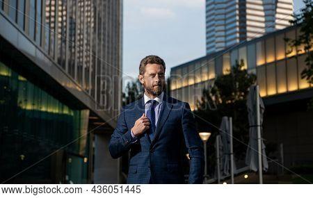 Mature Businessman In Formalwear Outside The Office, Businesslike