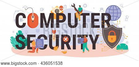 Computer Security Typographic Header. Digital Data Protection And Database