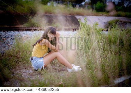 Portrait Alone Woman Sitting In Forest. Broken Heart, Problem Couple, Hopeless In Love, Sad, Lonely