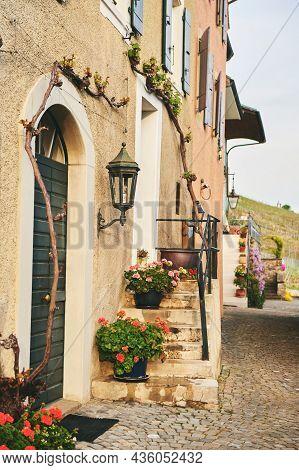 Small Cozy Street In Lavaux Village, Vaud, Switzerland