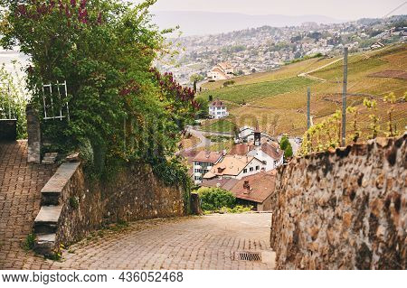Passage Through Small Village In Lavaux Vineyards, Spring Hiking Activity In Switzerland