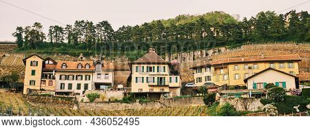 Small Village On The Hill In Lavaux Vineyards, Spring Hiking Activity In Switzerland