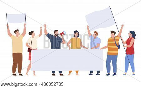 Protest People Crowd Activist Holding Blank Banners Vector Flat Illustration. Street Demonstration