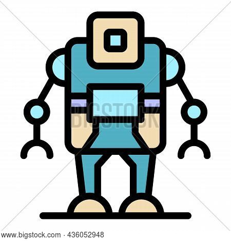 Computer Robot Icon. Outline Computer Robot Vector Icon Color Flat Isolated