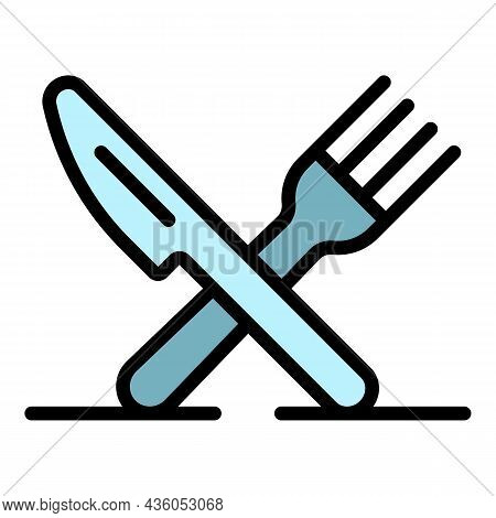 Crossed Knife Fork Icon. Outline Crossed Knife Fork Vector Icon Color Flat Isolated