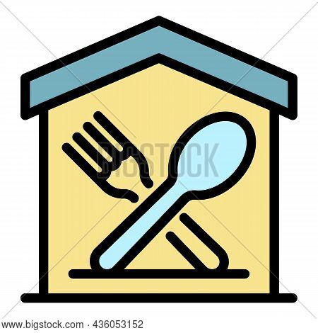 Food Court Icon. Outline Food Court Vector Icon Color Flat Isolated