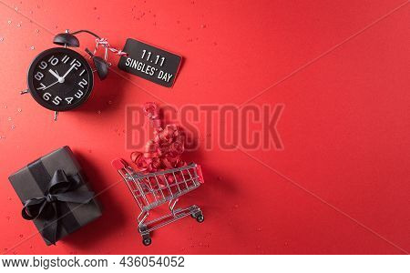 Online Shopping Of China, 11.11 Singles Day Sale Concept. Top View Of Shopping Cart, Black Christmas